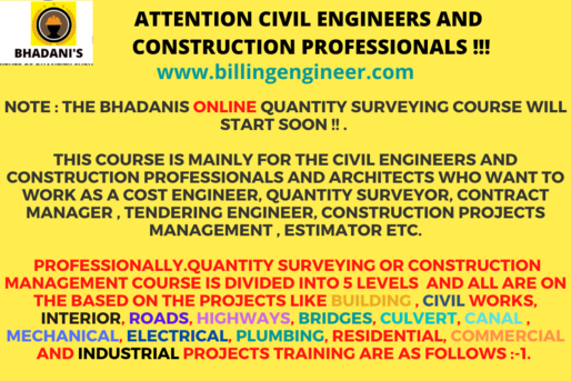 BHADANIS QUANTITY SURVEYING COURSE LEVEL 1 TO LEVEL 5 FOR CONSTRUCTION PROFESSIONALS CALL 9911259530