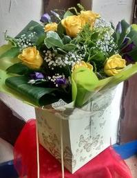 Yellow Rose and Lisianthus Hand Tied