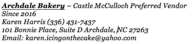 Archdale Bakery - Preferred Vendor Castle McCulloch