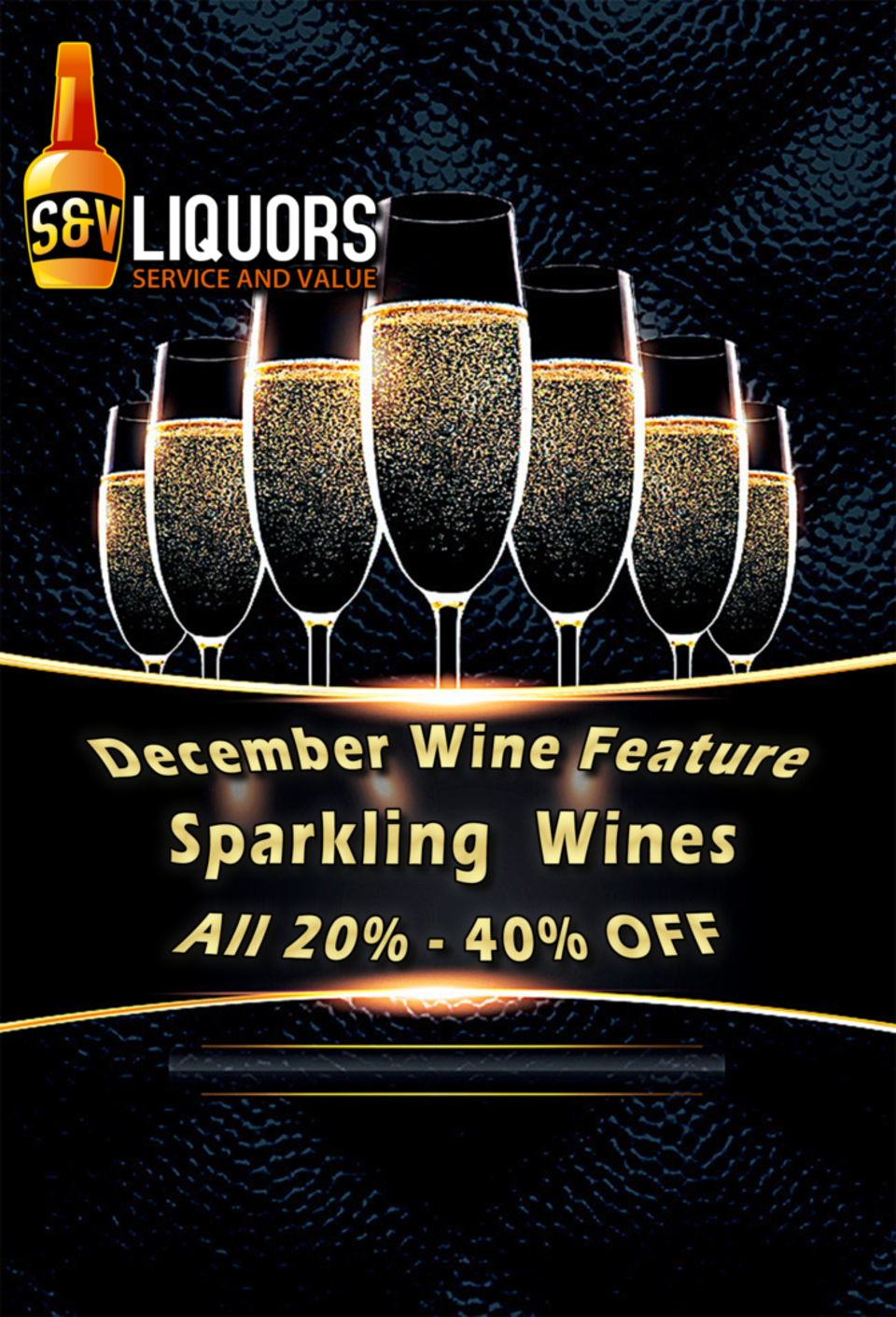 S&V Liquors' December Featured Wines - Over two dozen sparkling wines on sale in Fort Wayne between 20% and 40% Off!