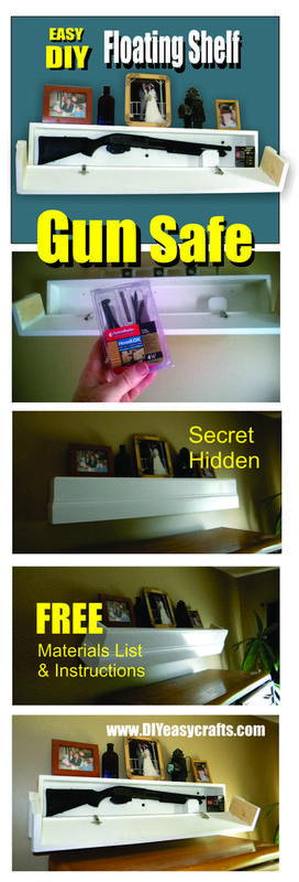 DIY Secret Floating Shelf Gun Safe. Free Plans. www.DIYeasycrafts.com