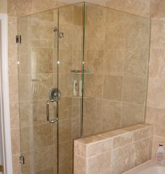 Frameless Shower with Kneewall