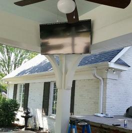 4k ultra hd tv mounting outside on patio, Charlotte TV wall mount install company