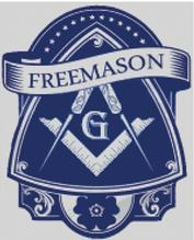 Cross Stitch Chart Pattern of Freemasons Logo on Scroll over Blue Shield