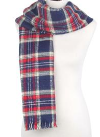 Navy Blue Reversible Tartan Print Blanket Wrap