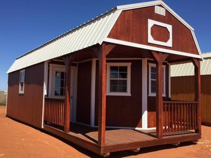 Weather Kings lofted cabin with customized windows and door placements with roof and paint color.placement