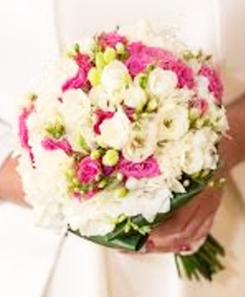 White lisianthus and pink rose wedding posy