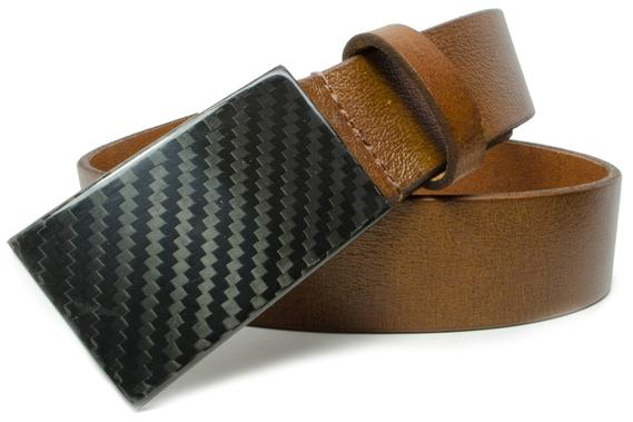 Carbon fiber hook buckle looks great with golden brown belt strap - made in USA, metal free
