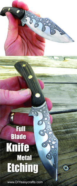DIY full blade knife metal etching. FREE step by step instructions. www.DIYeasycrafts.com