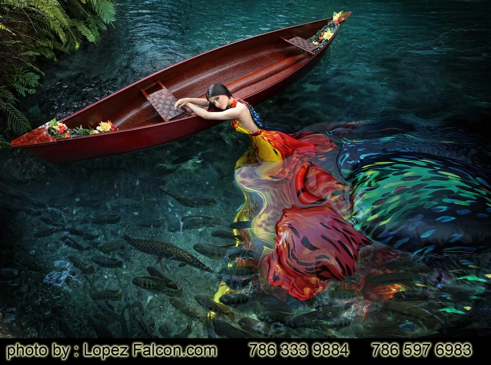 Secret Gardens Miami Quinces Photography with Canoe Underwater Lakes quinceanera dresses