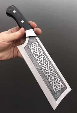 Custom AEBL stainless Celtic Cleaver with stainless bolsters, pins and Water Buffalo Horn scales by www.Bergknifemaking.com
