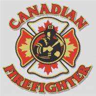 Cross Stitch Chart of Canadian Firefighter Maltese Cross