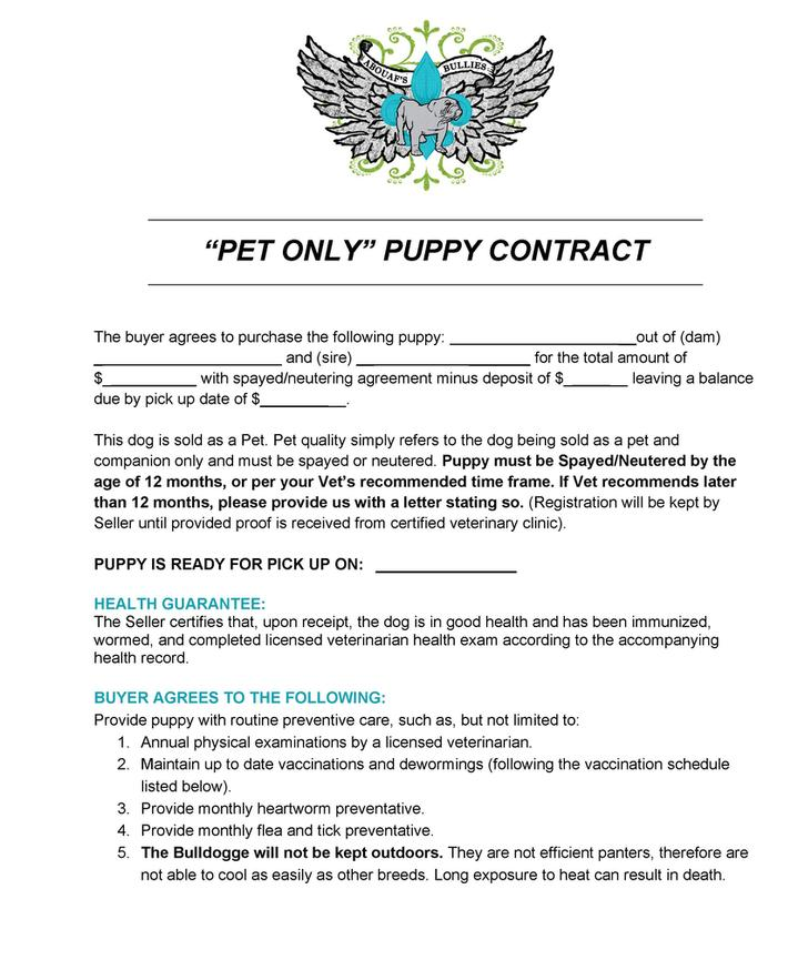 Pet Only Puppy Contract