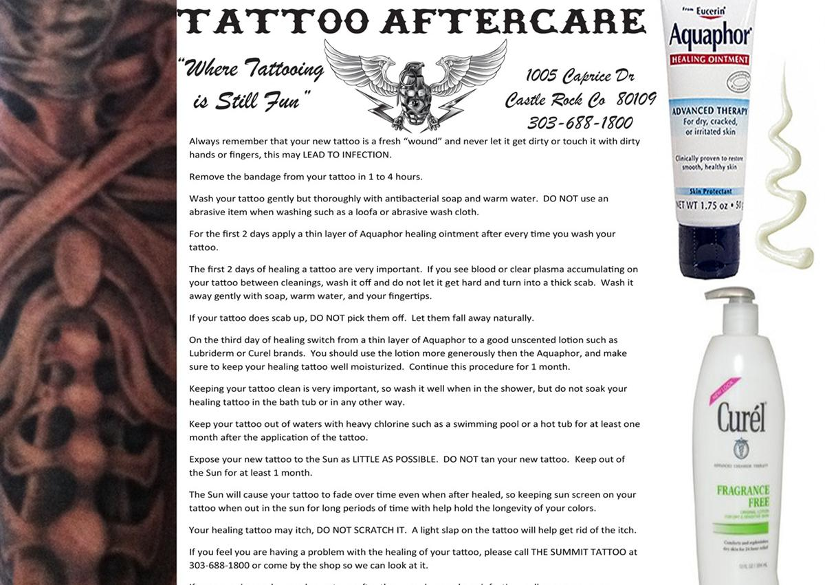 Tattoo aftercare tattoo prices piercings jewlery piercing for Tattoo shops in castle rock