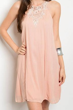 Peach Crochet Detail Dress