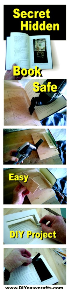 DIY Secret Hidden Book Safe. Step by step instructions. www.DIYeasycrafts.com