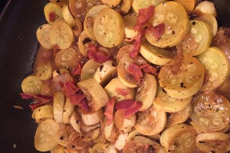 Sauteed Squash, onion and bacon; looks yummy