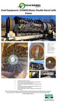 Astec Double Barrel with Frame 200HP Motor with Rex Reducer 8' Wide x 36' Long Frame is 48' Long Total Brenco Railroad Bearings Flights Still inside drum Outershell off but with unit Inlet Breach with unit Misc Chutes with unit
