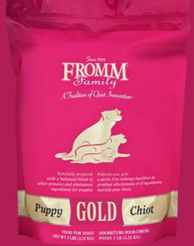 FROMM Gold Puppy dry dog food, available in 33,15 and 5 pound bags