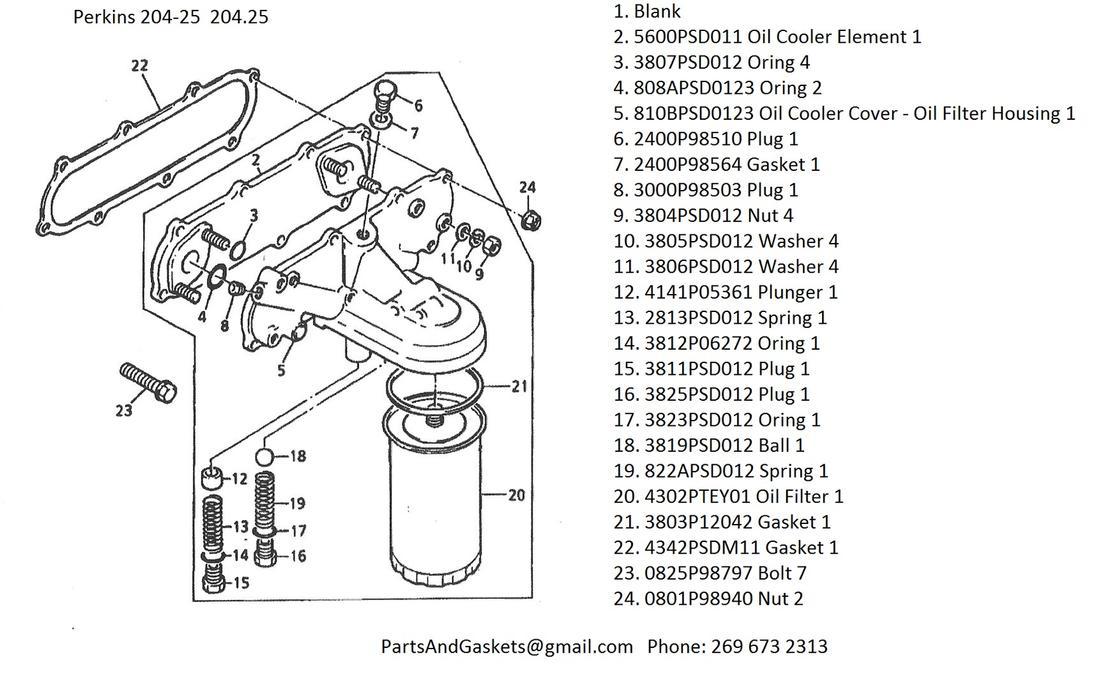 Perkins 204-25 204.25 Oil Cooler, Oil Cooler Cover, Oil