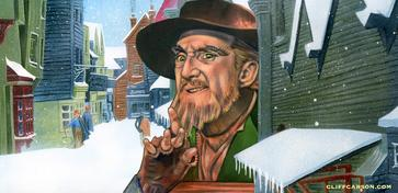 RON MOODY as Fagin in Columbia Picture's OLIVER! Illustrated by CLIFF CARSON