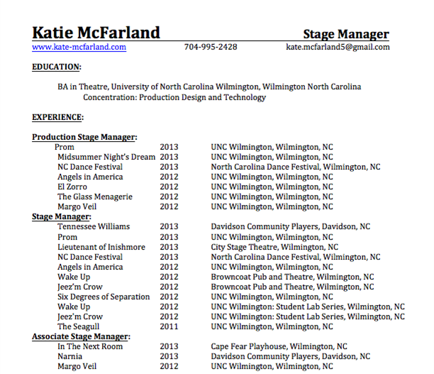 Stage Resume Please View Photos Of My Work In Portfolio And Check Out Different