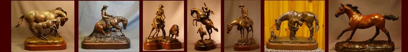 Bronze horse sculptures
