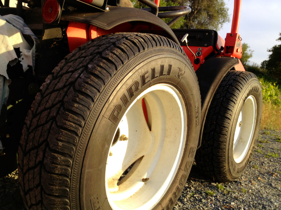 Photo of our red Italian tractor