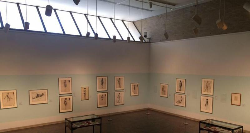 "Overhead installation view of KAM exhibition, ""Drawing the Line"""
