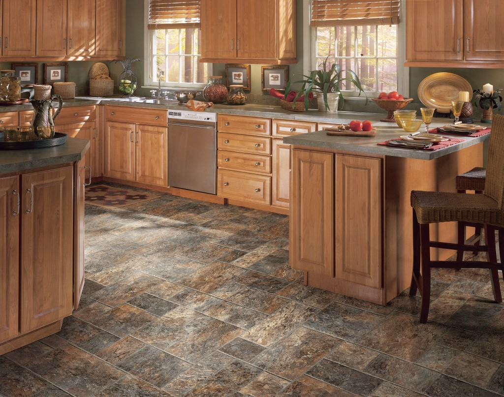 vinyl laminate and rubber cheap kitchen flooring
