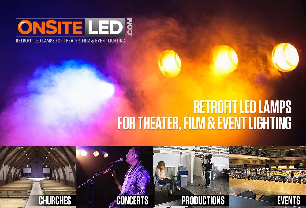 RP64 Par64 and RP56 Par56 LED replacement lamps for churches, concerts, productions and events