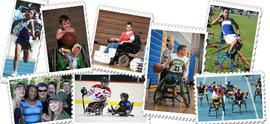 collage of nine small photos: a runner, 2 wheelchair basketball players, a power soccer player, 2 track and field photos, a group of six people, and a sled hockey photo