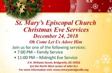 Christmas Eve Services - Monday December 24, 2018 at 7PM and 11PM