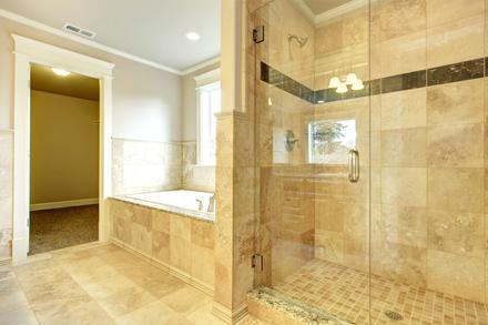 custom tile tub surround custom tile shower accent row decorative row bathroom remodel in Greenwood Village Colorado