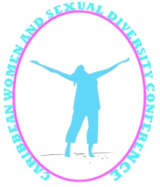 Logo of the Caribbean Women and Sexual Diversity Conference - woman in blue with arms outstretched