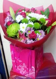 Pink lily, Rose and Chrysanthemum Bouquet