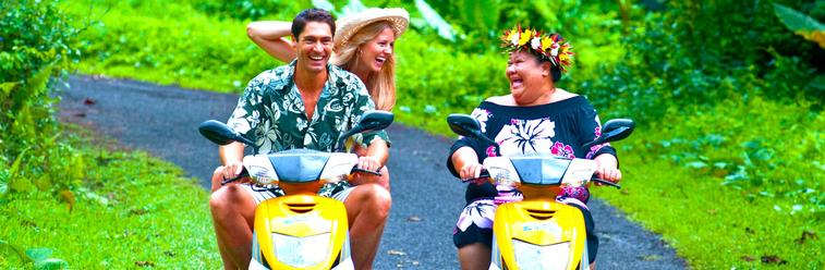 Cook Islands- motor scooters on Rarotonga