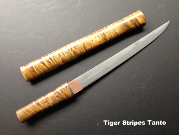Tanto, Tiger Stripes Maple, Copper, Wrought Iron
