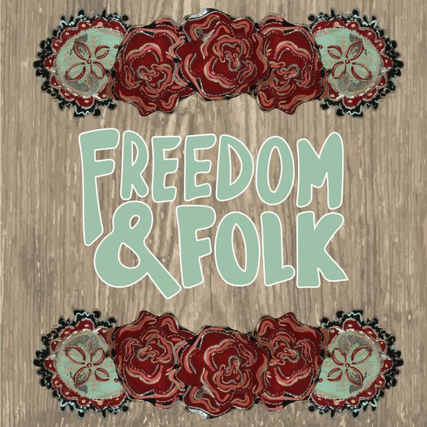 Freedom and Folk, hand hammered and painted folk art inspired designs for art licensing by Kat Ford