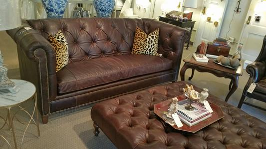 C.R. Laine leather new sofa large ottoman custom bespoke furniture available in over 600 fabrics