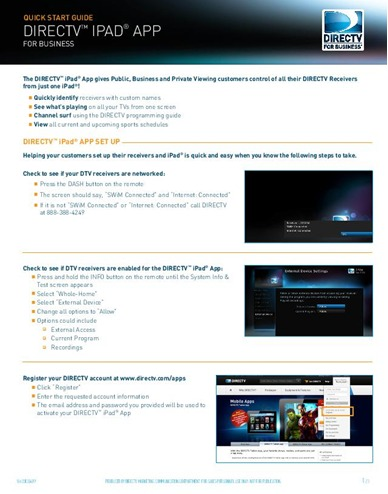 DIRECTV's Easy iPad Management App for your business