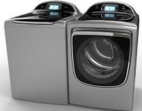 high efficiency washer on the left and clothes dryer on the right