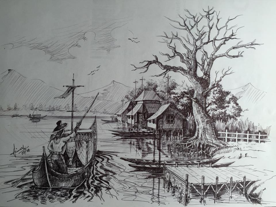 Pen sketch work indian north east village