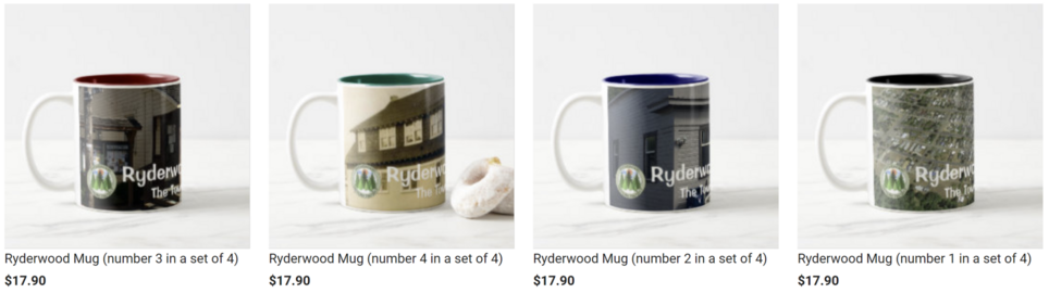 Four custom-designed mugs featuring then-and-now images of Ryderwood, Washington.