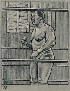 Wrestler RON SIMMONS drawing by CLIFF CARSON