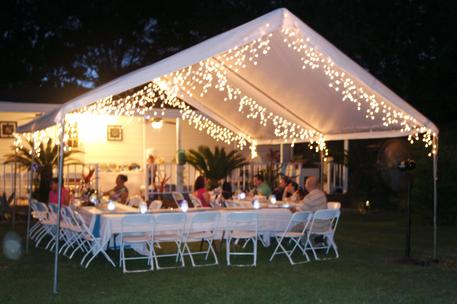 WHITE LIT BACKYARD TENT