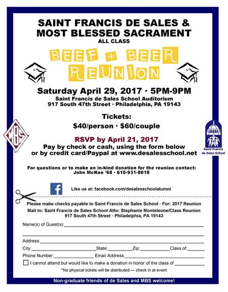 Registration form for 2017 All Class Reunion