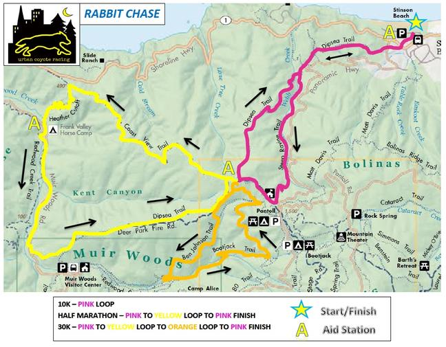 Rabbit Chase Course Map on