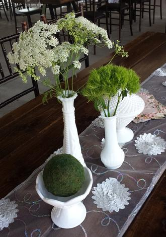 Vintage Milk Glass with Greens and Moss