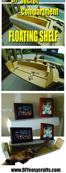 DIY Secret Compartment Floating Shelf. Complete step by step instructions. www.DIYeasycrafts.com